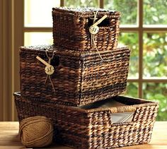Havana Lidded Baskets #potterybarn perfect for console ( 11 1/2 × 18 × 36) perfect for stowing throws)