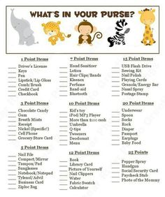 What's in your purse? Baby Shower Game!