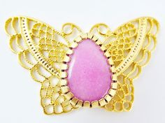 Butterfly Pendant with Bezel Set Candy Pink by LylaSupplies, $13.50
