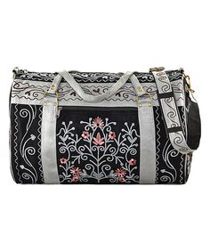 Look what I found on #zulily! Black & Gray Floral Embroidered Suede Weekender #zulilyfinds