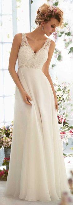 Elegant Tulle & Chiffon & Satin Empire V-neck Raised Waistline Wedding…