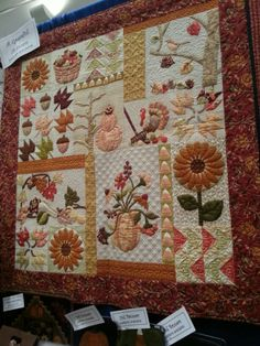 Beautiful Fall quilt. Wool Applique, Applique Quilts, Quilting Projects, Sewing Projects, Quilting Ideas, Sunflower Quilts, Halloween Quilts, Fall Quilts, Sampler Quilts