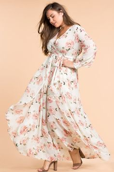 f6588f617b0 Plus Size Floral Shine Maxi Dress Plus Size Spring Dresses