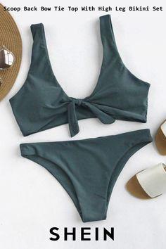 7c27fa9ef4 Scoop Back Bow Tie Top With High Leg Bikini Set High Leg Bikini