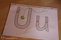 Deutsch, Buchstaben, Buchstabeneinführung, nachfahren, nachspuren mit Knopf an Faden Schnur, Feinmotorik, Vorschule, Klasse 1