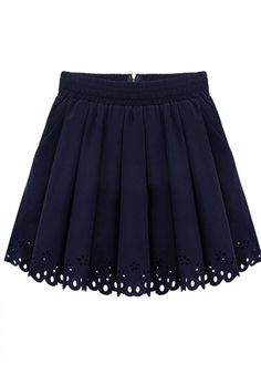 Dark Blue Elastic Waist Zipper Pleated Skirt