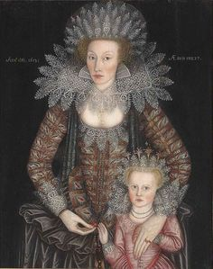 Portrait of Frances Marbury, aged 27, with her daughter, aged 4, 1613, English School.  Nee dau.  of John Arderne (or Arden), 2nd wife of Thomas Marbury, of Marbury, Cheshire. Acc. to one source, John Ardern was of the family of Shakespeare's mother.  Curiously, her death certificate, signed by her husband, does not mention a dau.--perhaps she did not survive.