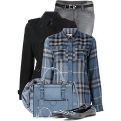 Trench & Flats by brendariley-1 on Polyvore featuring Burberry, Diesel, Tory Burch, Zara, Dotti, Blue, flats, plaid and Tory