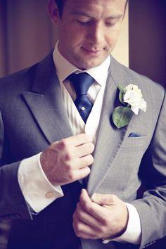 #Groom in blue, grey and white - via Whimsical Wonderland Weddings.