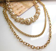 Retro Layered Gold Tone Multi-Chain White Faux Pearl Rhinestone Choker Necklace