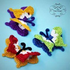 Butterfly Catalyna Crochet pattern by Island Style Crochet Crochet Butterfly Free Pattern, Crochet Flower Patterns, Crochet Flowers, Free Crochet, Knitting Patterns, Flower Applique, Crochet Top, Crochet Hooks, Scarf Crochet