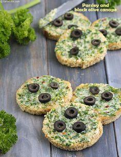 Parsley and Black Olive Canape recipe Veg Appetizers, Canapes Recipes, Appetisers, Appetizers For Party, Appetizer Recipes, Baby Food Recipes, Snack Recipes, Cooking Recipes, Brownie Recipes