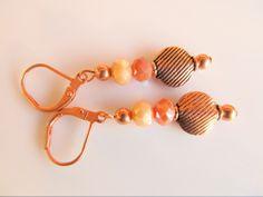 Oorbellen Copper Isis koperen oorbellen met gestreepte koperen kraal en kristalglas facet rondellen