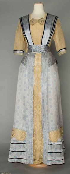 Silk and lace afternoon dress c1910. Image 1 of 2