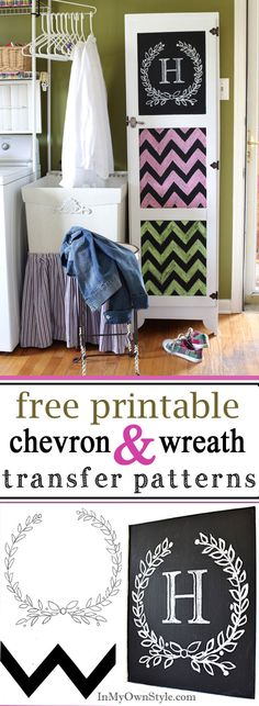 Painted Furniture - Chalkboard and chalk paint on a cabinet.  FREE chevron and wreath transfer patterns to print.