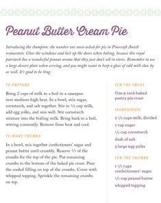 Sherry Gore's recipe for Peanut Butter Cream Pie on www.amishwisdom.com