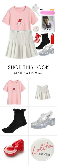"""""""He Loves Me, He Loves Me Not"""" by doe-eyed-nymphet ❤ liked on Polyvore featuring River Island, Forever 21, Forum, Monsoon, strawberry, nymphet and nymphetfashion"""