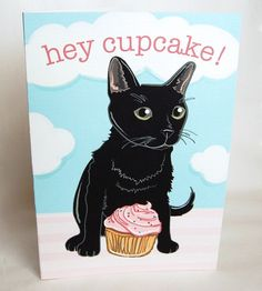 Cupcake Black Cat Greeting Card by AfricanGrey on Etsy, $5.50