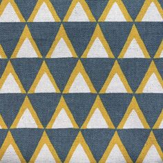 Kokka Japanese Fabric Stamped Ellen Luckett Baker - Triangles - gray and yellow