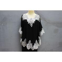 Stunning Black Tunic Dress Fancy Silver Brocade Tops Plus Size Short... ($39) ❤ liked on Polyvore featuring tops, tunics, short caftan, short kaftan, embroidered top, embroidered kaftan and plus size caftan