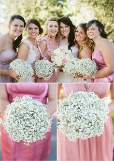 LOVE the babys breath bouquets for bridesmaids! ((seriously thinkin' this is the way I'm leaning for the bridesmaids bouquets!!  Gotta meet w/ the florist on Saturday.. So simple, yet soo pretty!!))