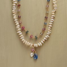 """COLOR FêTE NECKLACE--Our statement necklace on a more delicate scale combines double strands of multicolor sapphires and freshwater cultured pearls with ruby, kyanite and pearl charms. It'a a truly versatile choice she's sure to wear frequently. 14kt gold filled links, gold plated lobster clasp. Handcrafted in USA exclusively for Sundance. 20""""L."""