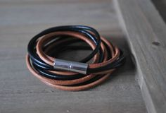 Items similar to GIANT and wide leather bracelet 3 layers wrap men woman multi strand link rope tan leather boho fashion with magnetic end 2 in 1 necklace on Etsy Black Leather Bracelet, Tan Leather, Leather Bracelets, Bracelets For Men, Bracelet Men, Bracelet Making, Boho Fashion, Birthday Gifts, Hemp