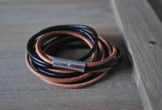GIANT genuine black LEATHER bracelet birthday gift magnetic handmade hemp wrist