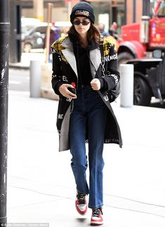 Mix it up with a patchwork mixed media coat like Kaia #DailyMail Click to shop now