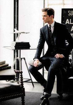 Classic slim cut pinstripe suit.  Join us on Facebook - https://www.facebook.com/Johnandmario