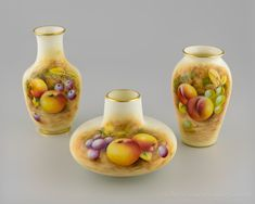 Three Royal Worcester Fruit Painted Vases Signed Roberts