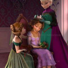 Elsa, Anna, and Rapunzel Disney Princess Art, Disney Nerd, Cute Disney, Princesa Disney Frozen, Disney Frozen Elsa, Rapunzel, Disney And Dreamworks, Disney Pixar, Disney Characters