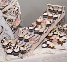 FOOD and DECORATION: Cupcake Holder Slide that holds 18 cupcakes by CleverlyBuilt - $109.00