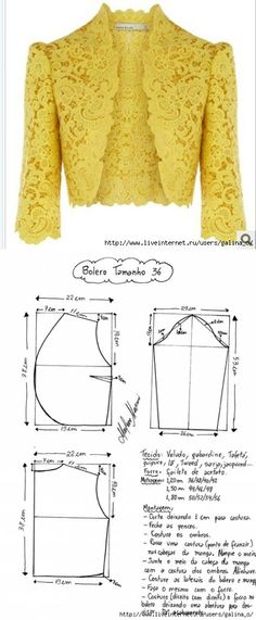 Кружевной пиджак Sewing Pattern/ lace Jacket or bolero. Cute over jeans or a dress! Bolero Pattern, Jacket Pattern, Pattern Skirt, Blazer Pattern, Jumpsuit Pattern, Dress Sewing Patterns, Clothing Patterns, Pattern Sewing, Sewing Ideas