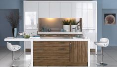 Someday my kitchen: high gloss Walnut with cream/white
