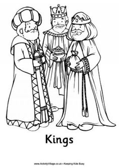 Print this Nativity colouring page of the three kings or three wise men, part of a complete set of Nativity colouring pages at Activity Village for younger children Nativity Coloring Pages, Bible Coloring Pages, Coloring Pages For Kids, Coloring Sheets, Coloring Books, Adult Coloring, Christmas Nativity, Preschool Christmas, Kids Christmas
