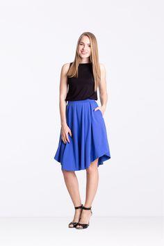 Spódnica z zakładkami borówka - Ynlow-Designed - Spódnice z koła Midi Skirt, Skirts, Etsy, Fashion, Moda, Midi Skirts, Fashion Styles, Skirt