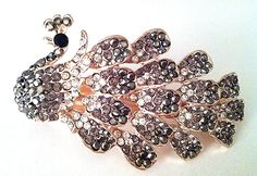 Bridal Hair Accessory Peacock Hair Accessory Barrette style, Silver Brown with Rhinestone and Diamond accents - Fast Shipping from IL, USA >>> Check out the image by visiting the link. (This is an affiliate link and I receive a commission for the sales)