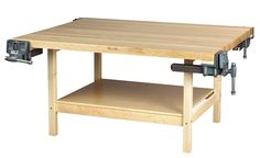 Shain Solutions Open Wood Bench without Vises, 64 W x 54 D x 31-1/4 H in