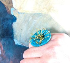 Statement novelty ring Wire wrapped Sea medusa by totalhandmadeD, $20.00