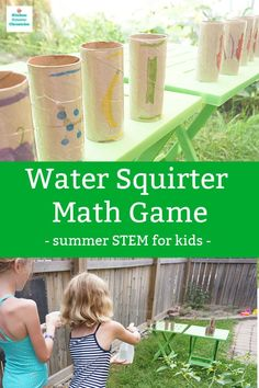 Grab the water squirters and have fun with this Summer STEM activity for kids. Keep cool and have fun and practice math! Get the answers correct, or get soaked!  #summerlearningforkids #mathgameforkids #summermath #summerstemactivity #stemactivityforkids #mathgameforkids Stem For Kids, Summer Crafts For Kids, Summer Activities For Kids, Math For Kids, Fun Math, Math Games, Educational Activities For Kids, Stem Activities, Happy Mom