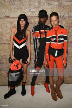 Faretta (R) poses backstage at the FENTY PUMA by Rihanna Spring/Summer 2018 Collection at Park Avenue Armory on September 10, 2017 in New York City.
