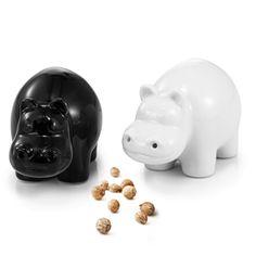 2pcs Cute Hippos Porcelain Salt & Pepper Shaker Set Cruet Condiment Ceramic Set
