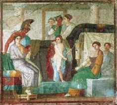 Pompeii, House of M. Lucretius Fronto, AD79eruption. Scene of the 'Marriage of Venus' south wall of the tablinium