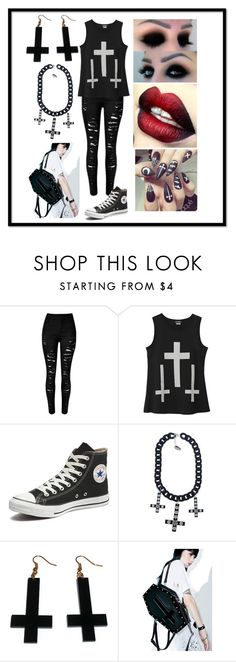 """""""inverted cross"""" by abbey-mcclellan ❤ liked on Polyvore featuring Converse, Kreepsville 666, Chicnova Fashion and Current Mood"""