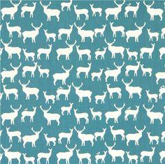 teal deer stag animal organic fabric by birch from the USA - Animal Fabric - Fabric - kawaii shop modeS4u