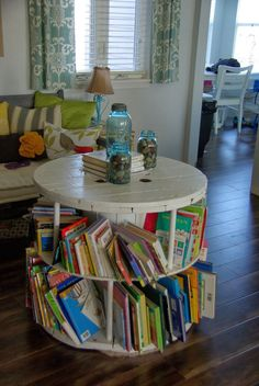 old spool turned into book shelf