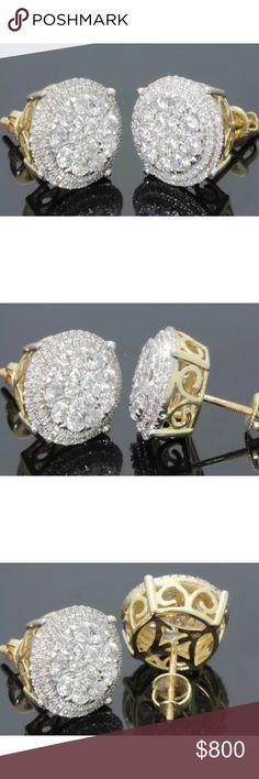 1.40 carat 10k yellow gold diamond earrings 1.40 carat 10k yellow gold diamond earrings! Gorgeous sparkle! 12mm in size! secure screw backs! Lower on pal! Jewelry Earrings