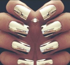 I want.  Chrome nails. You can get this look with Nail Rock Metallic Nail Wraps.