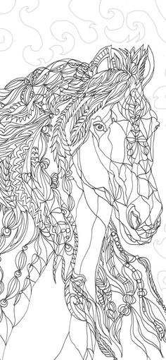 Horses are poetry in motion : Adult Coloring Book.: Adult Coloring Book by Valentina RA. artwork with a standard x frame. Horse Coloring Pages, Coloring Book Art, Doodle Coloring, Printable Coloring Pages, Colouring Pages, Adult Coloring Pages, Horse Drawings, Horse Horse, Stencil
